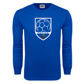 Royal Long Sleeve T Shirt-Soccer Shield