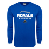 Royal Long Sleeve T Shirt-Royals Baseball Stacked w/ Seams