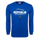 Royal Long Sleeve T Shirt-Royals Baseball Stacked w/ Seams