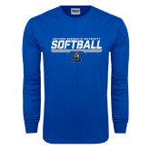 Royal Long Sleeve T Shirt-Softball Stencil