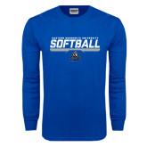 Royal Long Sleeve T Shirt-Softball Stencil