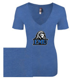 Next Level Ladies Vintage Royal Tri Blend V-Neck Tee-EMU w/ Lion Head