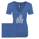 Next Level Ladies Vintage Royal Tri Blend V-Neck Tee-Official Logo White Soft Glitter