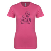 Next Level Ladies SoftStyle Junior Fitted Pink Tee-Official Logo Pink Glitter