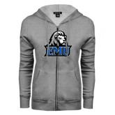 ENZA Ladies Grey Fleece Full Zip Hoodie-EMU w/ Lion Head