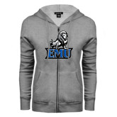 ENZA Ladies Grey Fleece Full Zip Hoodie-EMU w/ Full Lion