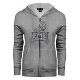 ENZA Ladies Grey Fleece Full Zip Hoodie-Official Logo Graphite Glitter