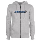 ENZA Ladies Grey Fleece Full Zip Hoodie-Institutional Logos