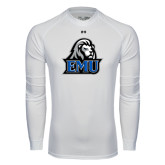 Under Armour White Long Sleeve Tech Tee-EMU w/ Lion Head