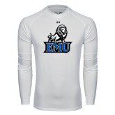 Under Armour White Long Sleeve Tech Tee-EMU w/ Full Lion