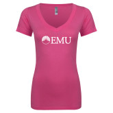 Next Level Ladies Junior Fit Ideal V Pink Tee-Institutional Logos