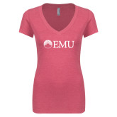 Next Level Ladies Vintage Pink Tri Blend V Neck Tee-Institutional Logos