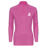 Ladies Syntrel Interlock Raspberry 1/4 Zip-Official Logo