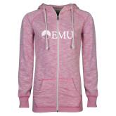 ENZA Ladies Hot Pink Marled Full Zip Hoodie-Institutional Logos