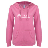 ENZA Ladies Hot Pink V Notch Raw Edge Fleece Hoodie-Institutional Logos