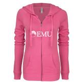 ENZA Ladies Hot Pink Light Weight Fleece Full Zip Hoodie-Institutional Logos