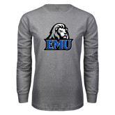 Grey Long Sleeve T Shirt-EMU w/ Lion Head