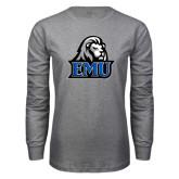 Grey Long Sleeve T Shirt-EMU w/ Lion Head