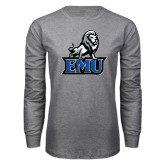 Grey Long Sleeve T Shirt-EMU w/ Full Lion