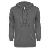 ENZA Ladies Dark Heather V-Notch Raw Edge Fleece Hoodie-Official Logo Silver Soft Glitter