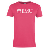 Ladies Fuchsia T Shirt-Institutional Logos