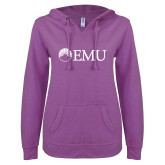 ENZA Ladies Berry V Notch Raw Edge Fleece Hoodie-Institutional Logos