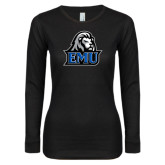 Ladies Black Long Sleeve V Neck Tee-EMU w/ Lion Head