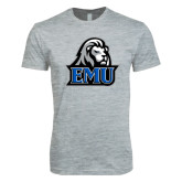 Next Level SoftStyle Heather Grey T Shirt-EMU w/ Lion Head