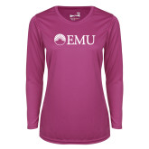 Ladies Syntrel Performance Raspberry Longsleeve Shirt-Institutional Logos