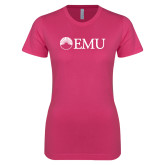 Ladies SoftStyle Junior Fitted Fuchsia Tee-Institutional Logos
