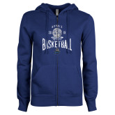ENZA Ladies Royal Fleece Full Zip Hoodie-Basketball Design