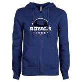 ENZA Ladies Royal Fleece Full Zip Hoodie-Soccer Design
