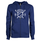 ENZA Ladies Royal Fleece Full Zip Hoodie-Baseball Design