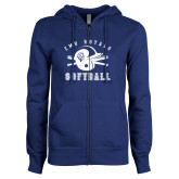 ENZA Ladies Royal Fleece Full Zip Hoodie-Softball Design