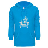 ENZA Ladies Pacific Blue V Notch Raw Edge Fleece Hoodie-Official Logo White Soft Glitter