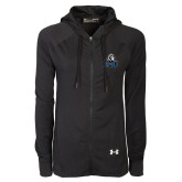 Ladies Under Armour Black Varsity Full Zip Hoodie-EMU w/ Lion Head