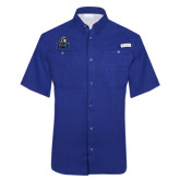 Columbia Tamiami Performance Royal Short Sleeve Shirt-EMU w/ Lion Head