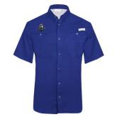 Columbia Tamiami Performance Royal Short Sleeve Shirt-EMU w/ Lion Head
