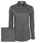 Ladies Grey Tonal Pattern Long Sleeve Shirt-Institutional Logos