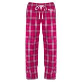 Ladies Dark Fuchsia/White Flannel Pajama Pant-Institutional Logos