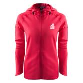 Ladies Tech Fleece Full Zip Hot Pink Hooded Jacket-Official Logo