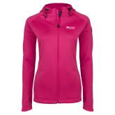 Ladies Tech Fleece Full Zip Hot Pink Hooded Jacket-Institutional Logos