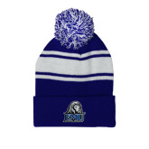 Royal/White Two Tone Knit Pom Beanie with Cuff-EMU w/ Lion Head