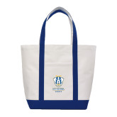 Contender White/Navy Canvas Tote-Primary Logo