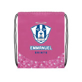 Nylon Pink Bubble Patterned Drawstring Backpack-Primary Logo