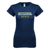Next Level Ladies SoftStyle Junior Fitted Navy Tee-Secondary Mark