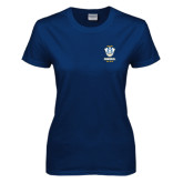 Ladies Navy T Shirt-Primary Logo
