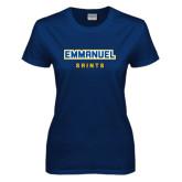 Ladies Navy T Shirt-Secondary Mark