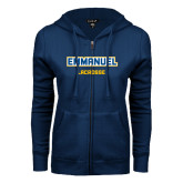 ENZA Ladies Navy Fleece Full Zip Hoodie-Lacrosse