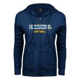 ENZA Ladies Navy Fleece Full Zip Hoodie-Softball